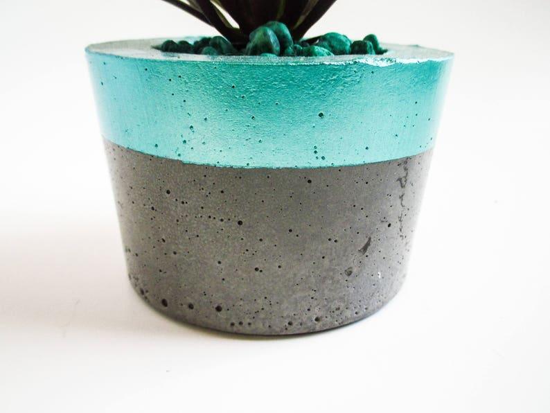 Cement decor Turquoise home decor Turquoise decor Aquamarine decor Turquoise planter Cement planter Cement home decor