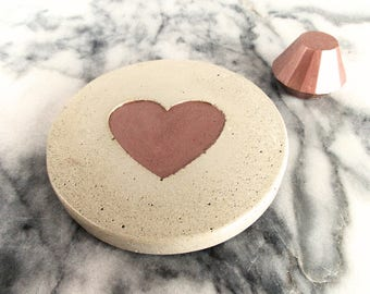 Valentines coasters - Heart coasters - Cement coasters - Valentines gifts - Valentines gift for her - Housewarming gift - Wedding gift