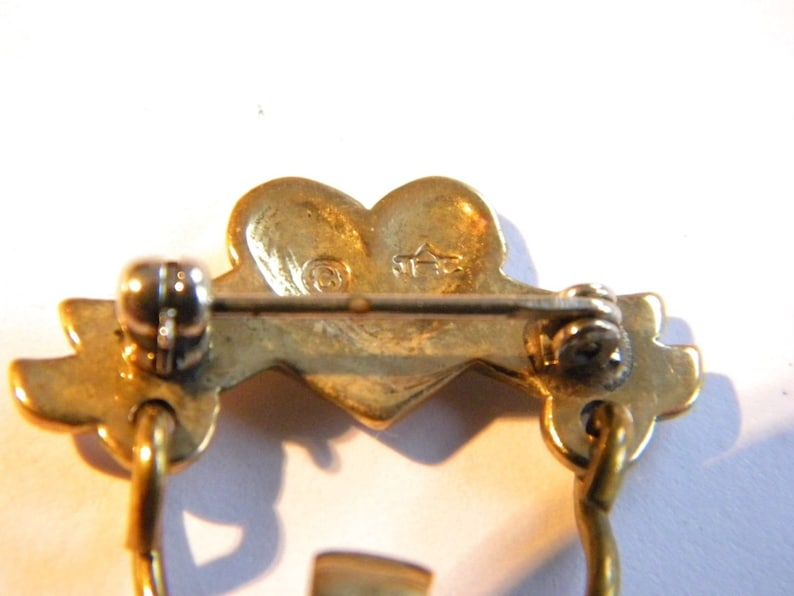 SALE Vintage signed JEC brooch silver /& brass with angel in heart ~  inA3626