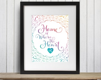 Home is where the heart is - typographic wall art poster print