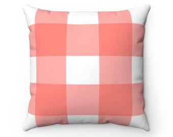 Coral Cream Plaid Pillow Sham Coral