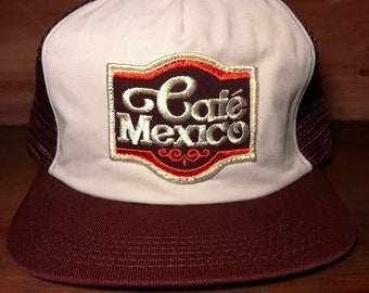 Vintage Cage Mexico burgundy snapback trucker hat