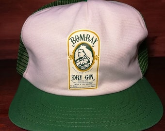 Vintage Bombay Dry Gin green and white snapback trucker hat