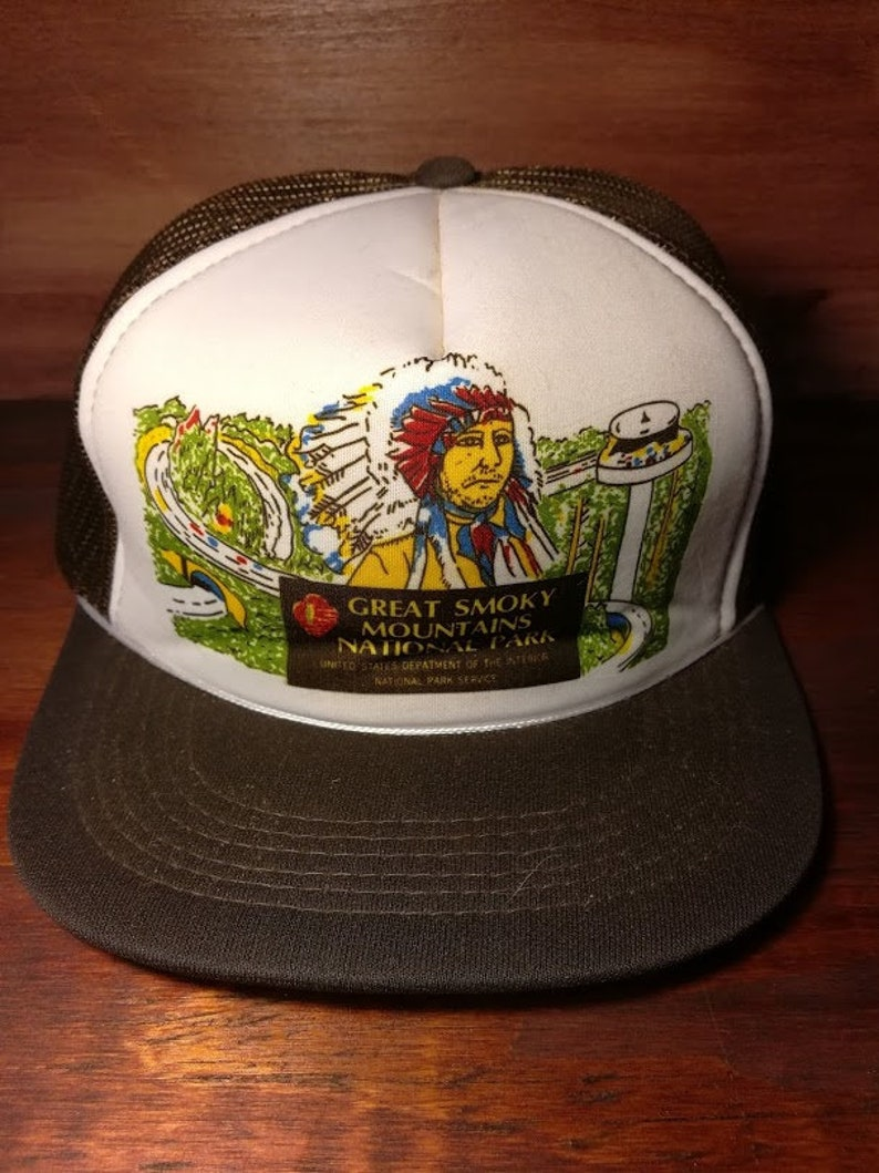 Vintage Smoky Mountain National Park snapback trucker hat  d53029b65b61
