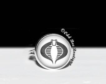 GI Joe Cobra Emblem Ring - American Animation, Cartoon,  80's Cartoon Show, Comic Book, After School Jewelry - 16mm Glass Adjustable