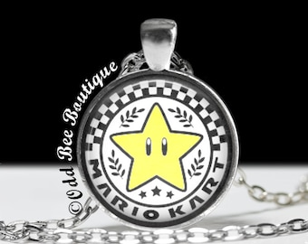 "Mario Kart Necklace - Star Cup Pendant - Nintendo Game Jewelry - Gamer Girl Accessory - Geekery Gift - 1"" Silver & Glass Pendant"
