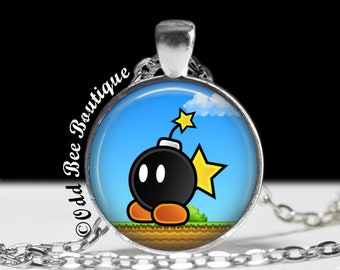 "Bob-Omb Necklace - Super Mario Brothers Pendant - Nintendo Game Jewelry - Gamer Girl Accessory - Geekery Gift - 1"" Silver & Glass Pendant"