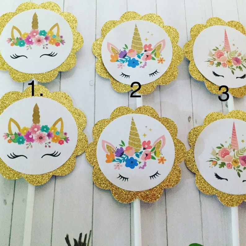 handmade cupcake toppers Unicorn  party cupcake toppers 12 pieces glitter unicorn gold scallop unicorn cupcake,birthday  unicorn  decor
