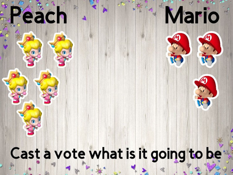 gender reveal game gender reveal decorations Girl or boy reveal cutouts Cast a vote gender reveal
