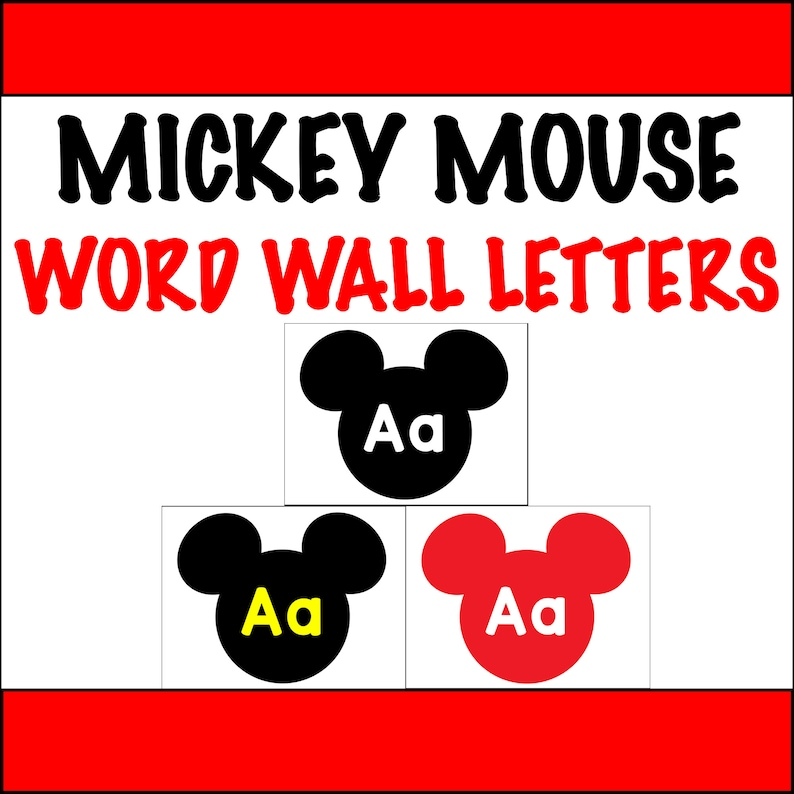 graphic regarding Word Wall Printable referred to as Mickey Mouse Clroom Decor Phrase Wall Letters PRINTABLE