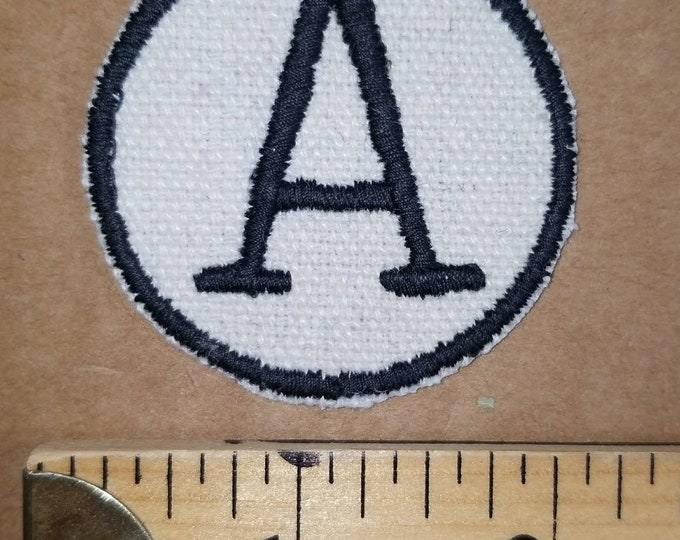 Letter A Iron On Embroidered Monogram Letter Patch