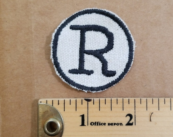 Embroidered R Monogram Iron On Patch