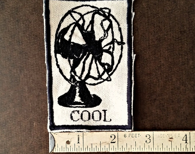 Handmade Embroidered Vintage Graphic Upcycled Canvas Cool Jacket Patch
