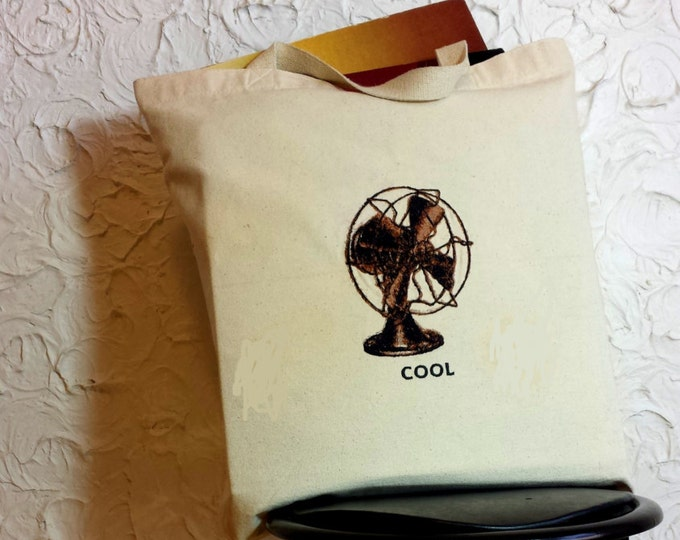 HandmadeEmbroidered Retro Cool Fan Graphic Canvas Tote Bag