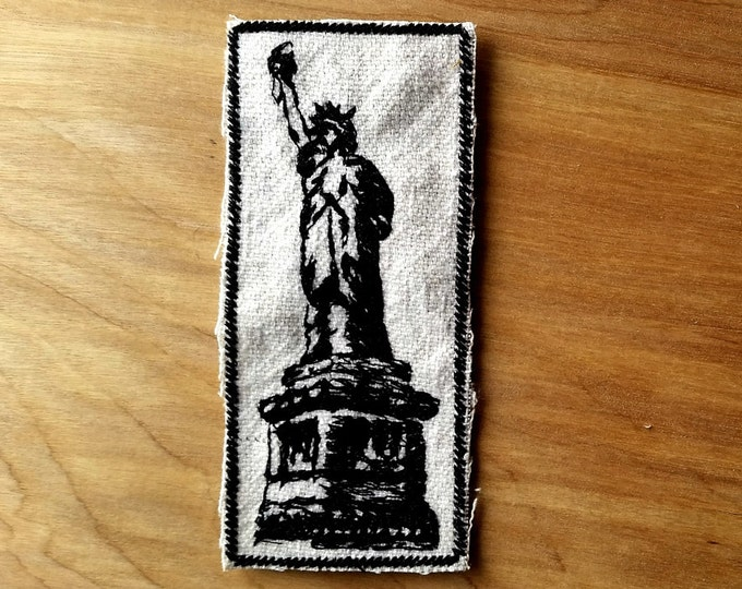 HandmadeEmbroidered Statue of Liberty Upcyled Canvas Iron On Jacket Patch