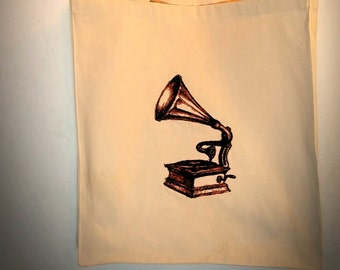 Handmade Embroidered Vintage Graphic Grammophone Reusable Canvas Tote Bag