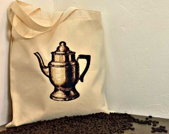 Handmade HandmadeCoffee Pot Retro Style Vintage Graphic Art Embroidered Tote Bag