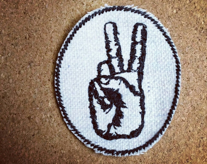 Handmade Embroidered Upcycled Canvas Peace Sign Hand Iron-on Jacket or Hat Patch