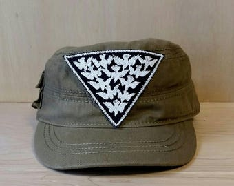 Handmade Glow in the Dark Bird Flock Embroidered Vintage Graphic Canvas Jacket Hat Patch