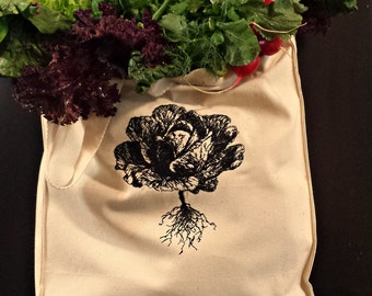 Handmade Farmer's Market Lettuce Embroidered Vintage Graphic Reusable Tote.