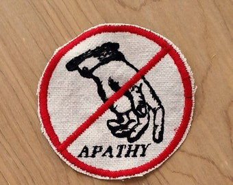 Embroidered No Apathy Upcycled Canvas Iron On Jacket Patch