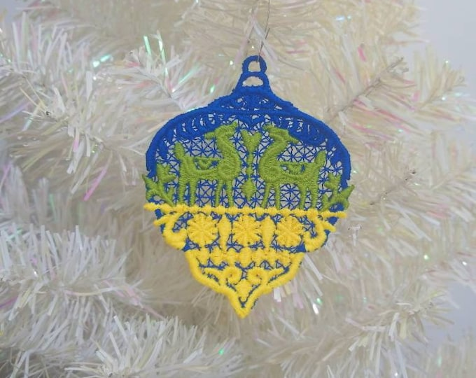 Embroidered Folkloric Christmas Deer Ornament