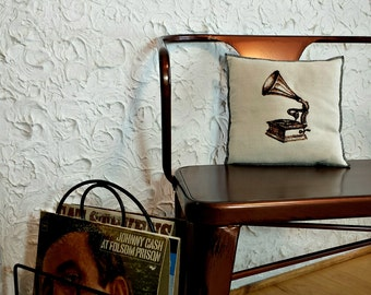 Embroidered Gramophone Vintage Graphic Upcycled Canvas Handmade Modern Pillow