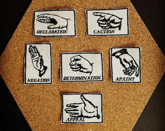 Handmade Hand Gesture Set of Six Embroidered Modern Vintage Graphic Upcycled Canvas Jacket Patches
