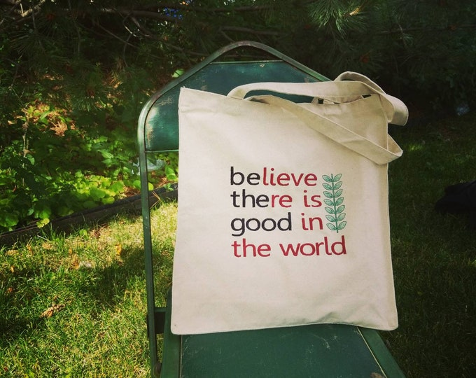 Handmade Handmadebe the good Embroidered Canvas Tote Bag