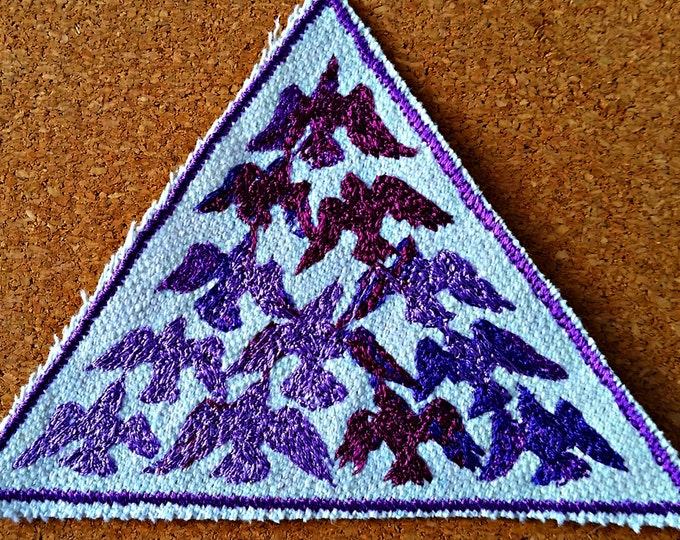 Handmade HandmadeBird Flock Purple Embroidered Vintage Graphic Upcycled Canvas Iron-On Jacket Patch