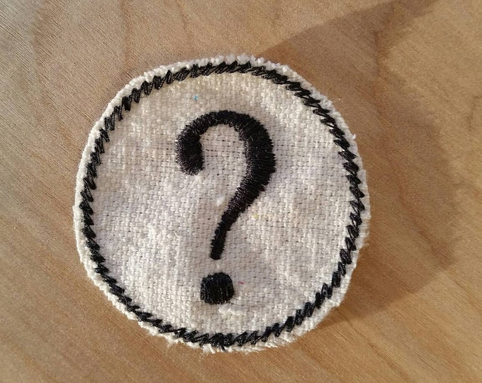 HandmadeEmbroidered Question Mark Upcycled Canvas Iron On Vintage Style Jacket or Hat Patch