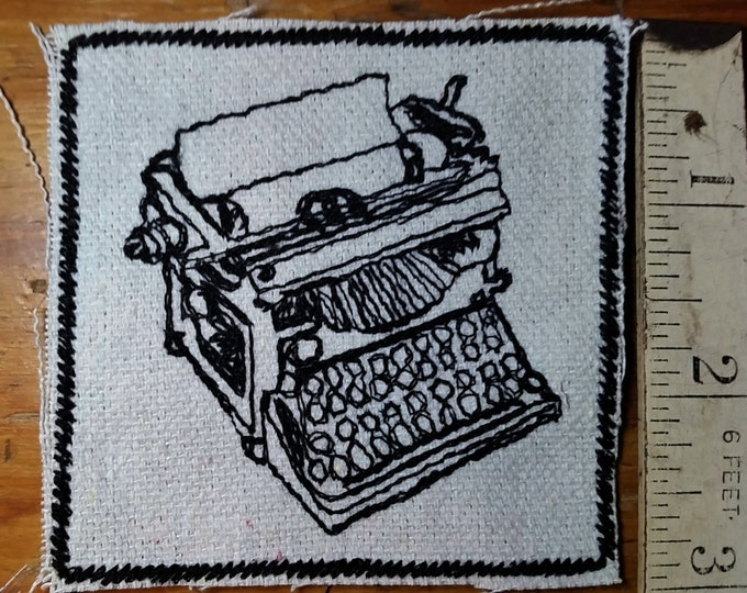 Iron On Patch for Denim Jackets and Hats. Vintage Graphic Typewriter Embroidered on Upcycled Canvas.