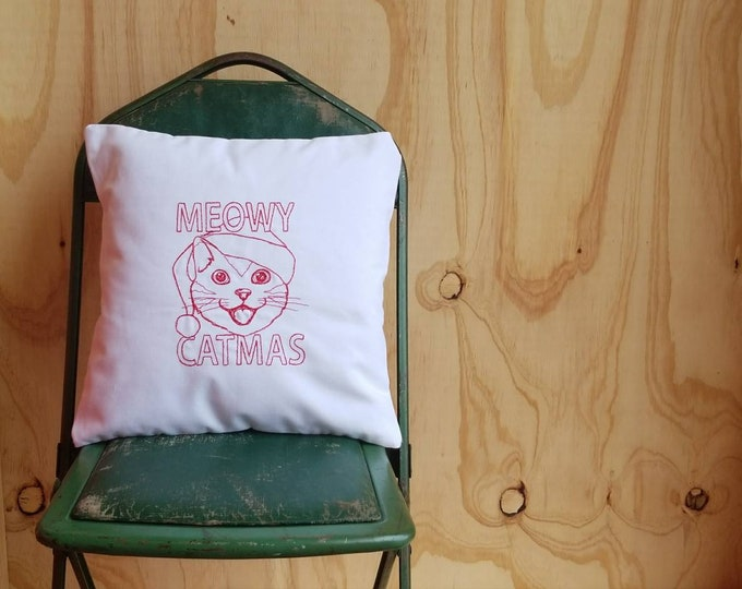 Embroidered Meowy Catmas Pillow