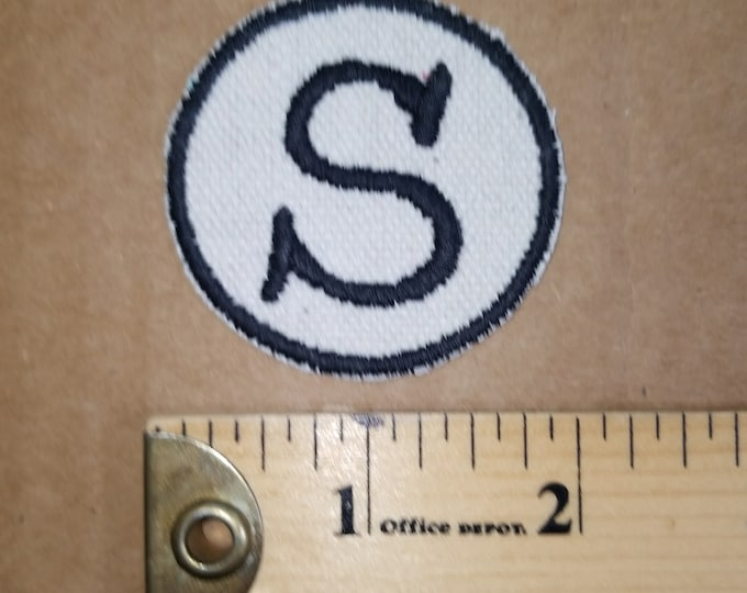 Embroidered S Monogram Iron On Patch