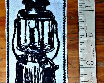 Handmade Embroidered Vintage Graphic Camping Lantern Upcycled Iron On Jacket Hat Canvas Patch