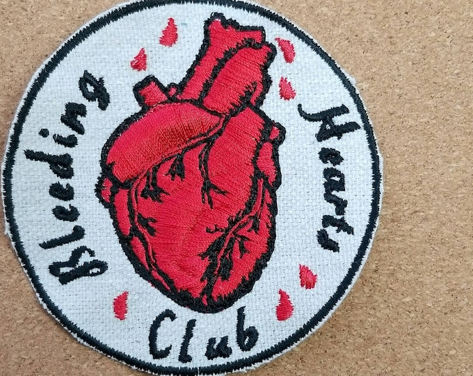 Iron-on Bleeding Heart Club Embroidered   Upcycled Canvas Patch