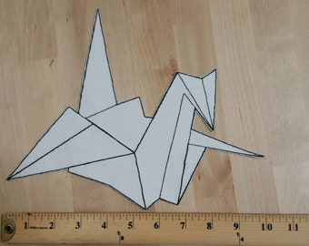Large Embroidered Origami Crane Iron-on Patch