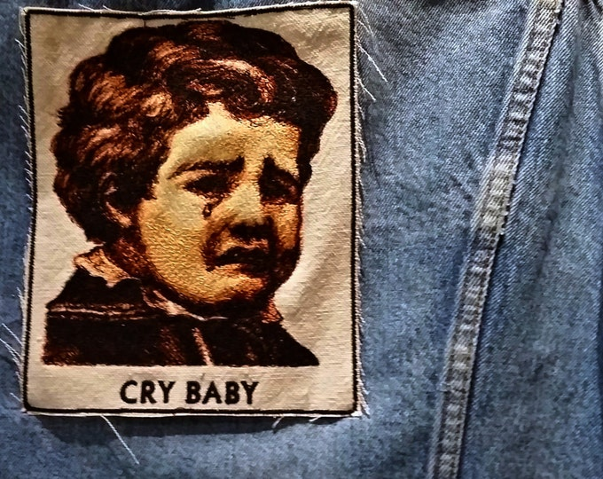 Handmade Embroidered Vintage Graphic Cry Baby Upcycled Canvas Iron On Jacket Patch