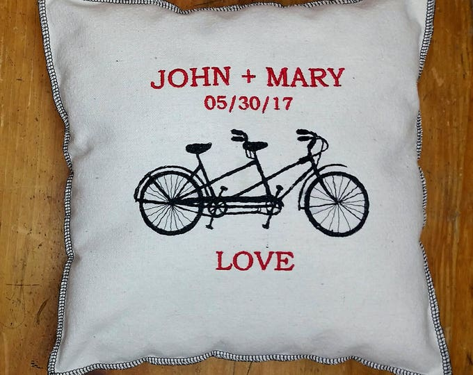 Embroidered Custom Wedding Engagement Date Tandem Bike Upcycled Canvas Pillow