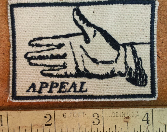 Handmade Hand Gesture Embroidered Upcycled Canvas Vintage Graphic Gestures Appeal Jacket Patch