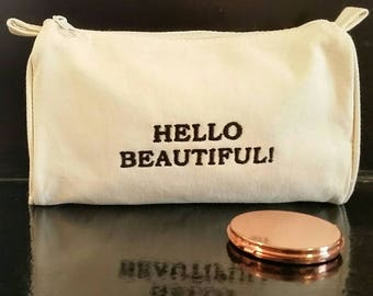 HandmadeEmbroidered Hello Beautiful Affirmation Cotton Cosmetic Bag.