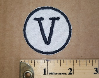 Embroidered V Monogram Iron On Patch