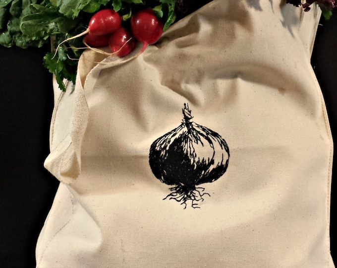 Handmade Farmer's Market Onion Embroidered Vintage Graphic Reusable Tote