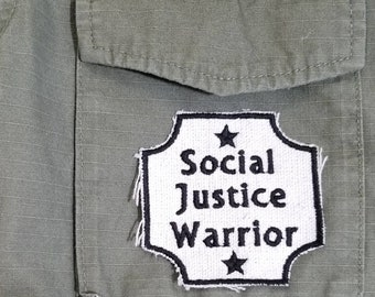 Iron On Embroidered Canvas Social Justice Warrior Patch.