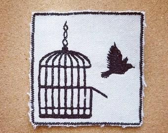 HandmadeEmbroidered Freedom Patch Iron-on Upcycled Canvas