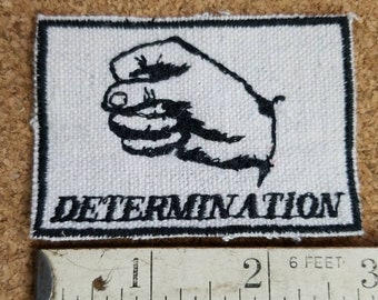 Handmade Embroidered Upcycled Canvas Vintage Graphic Gestures Determination Feminist Protest Iron On  Hat Jacket Patch
