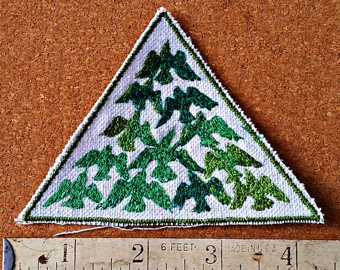 Bird Flock Green Embroidered Vintage Graphic Upcycled Canvas Iron On Jacket Patch