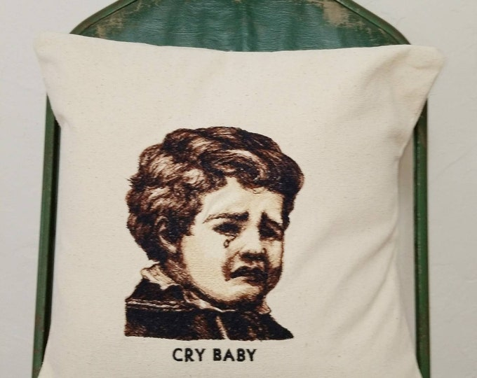 Embroidered Vintage Graphic  Cry Baby Pillow