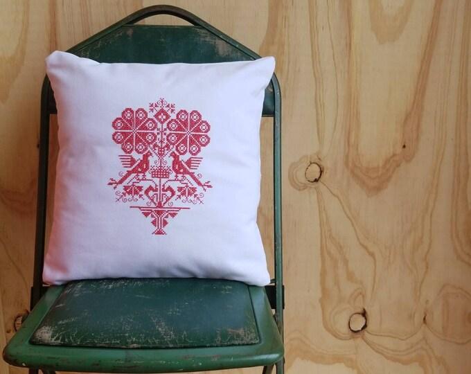 Embroiderd Cross Stitch Folk Art Pillow