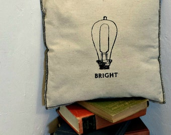 Bright Embroidered Modern Vintage Graphic Upcycled Canvas Pillow